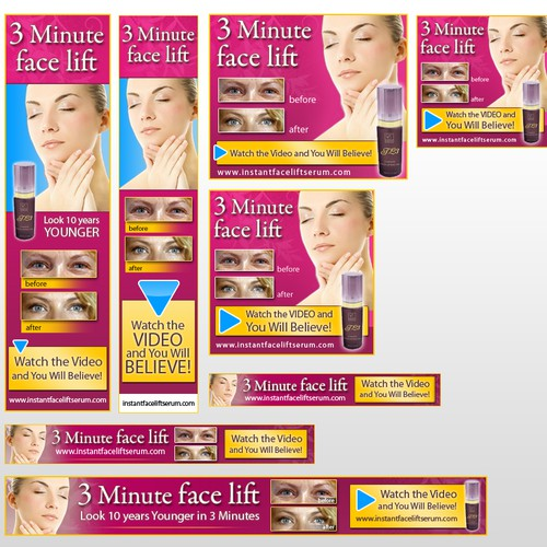 Web ads for 3 Minute Face Lift
