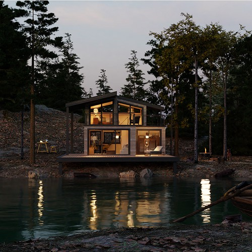 3D Render of a Lake house