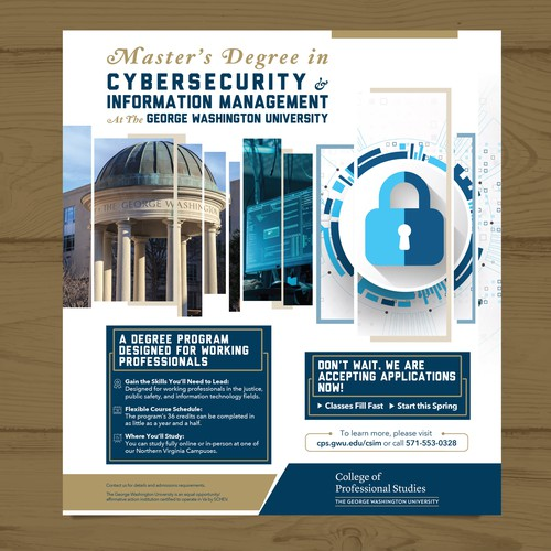 University Division needs Engaging Print Ad for Cybersecurity Master's Program