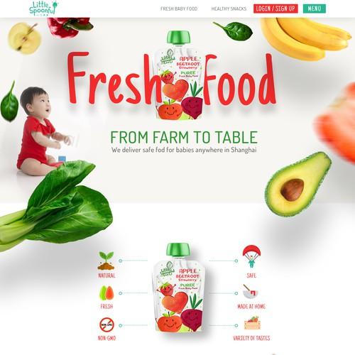 Design a website for an organic/fresh baby food company