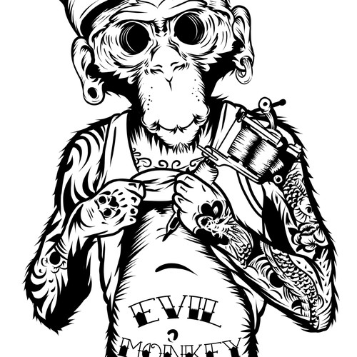Monkey cartoon for tattoo logo