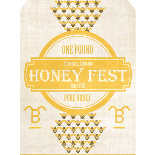 Vintage, whimsical, Honey Label for our Annual HoneyFest Event.
