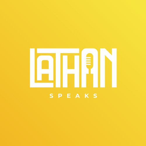 Lathan Speaks wordmark and negative space concept