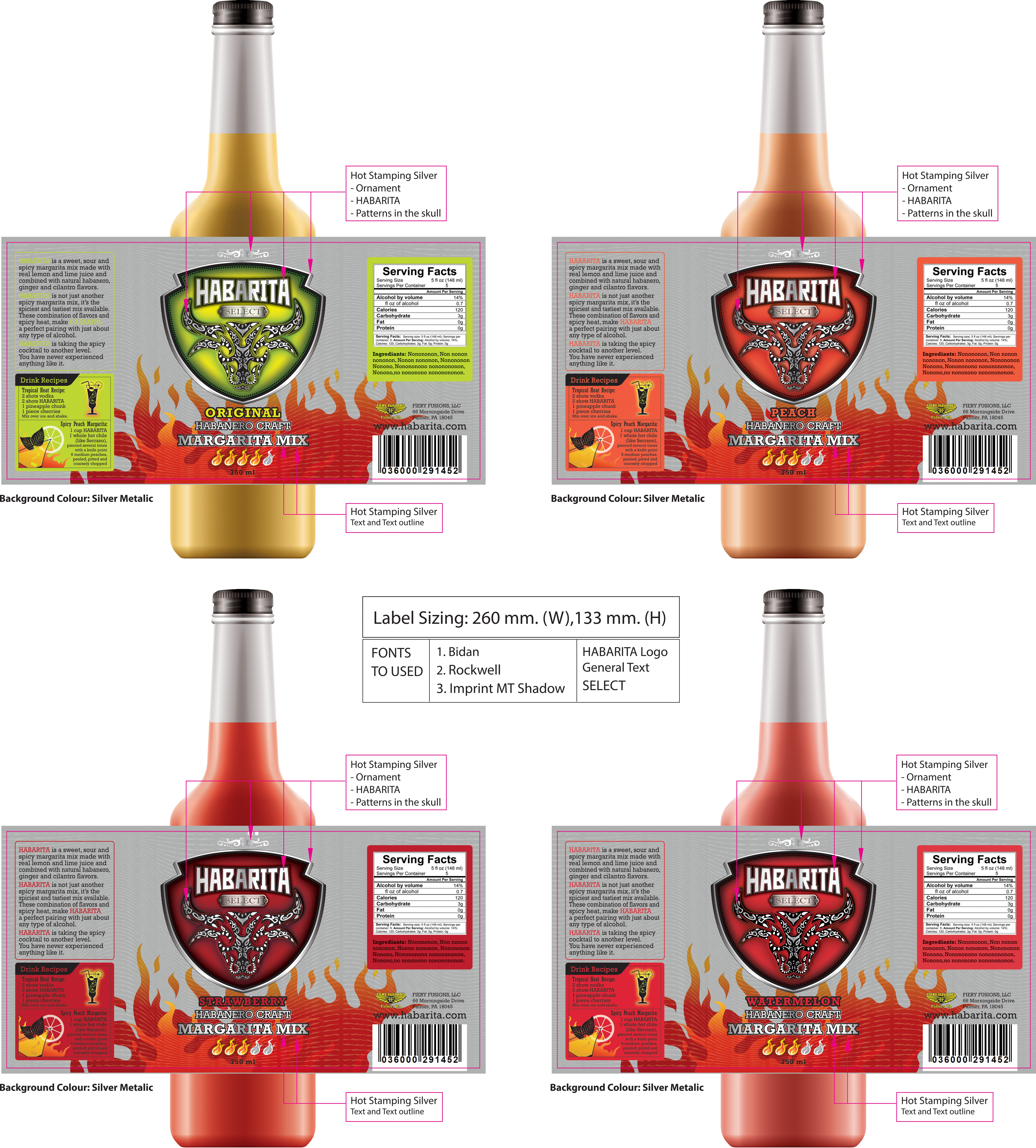 Create a catchy, shelf popping new label design for our HABARITA habanero craft cocktail (Spicy Margarita Mix)