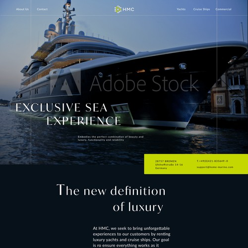 Home Page design for Superyacht and Cruise Ship Company