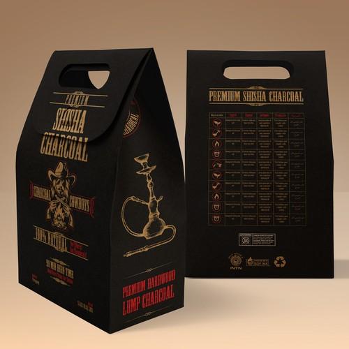 Label design for charcoal bag