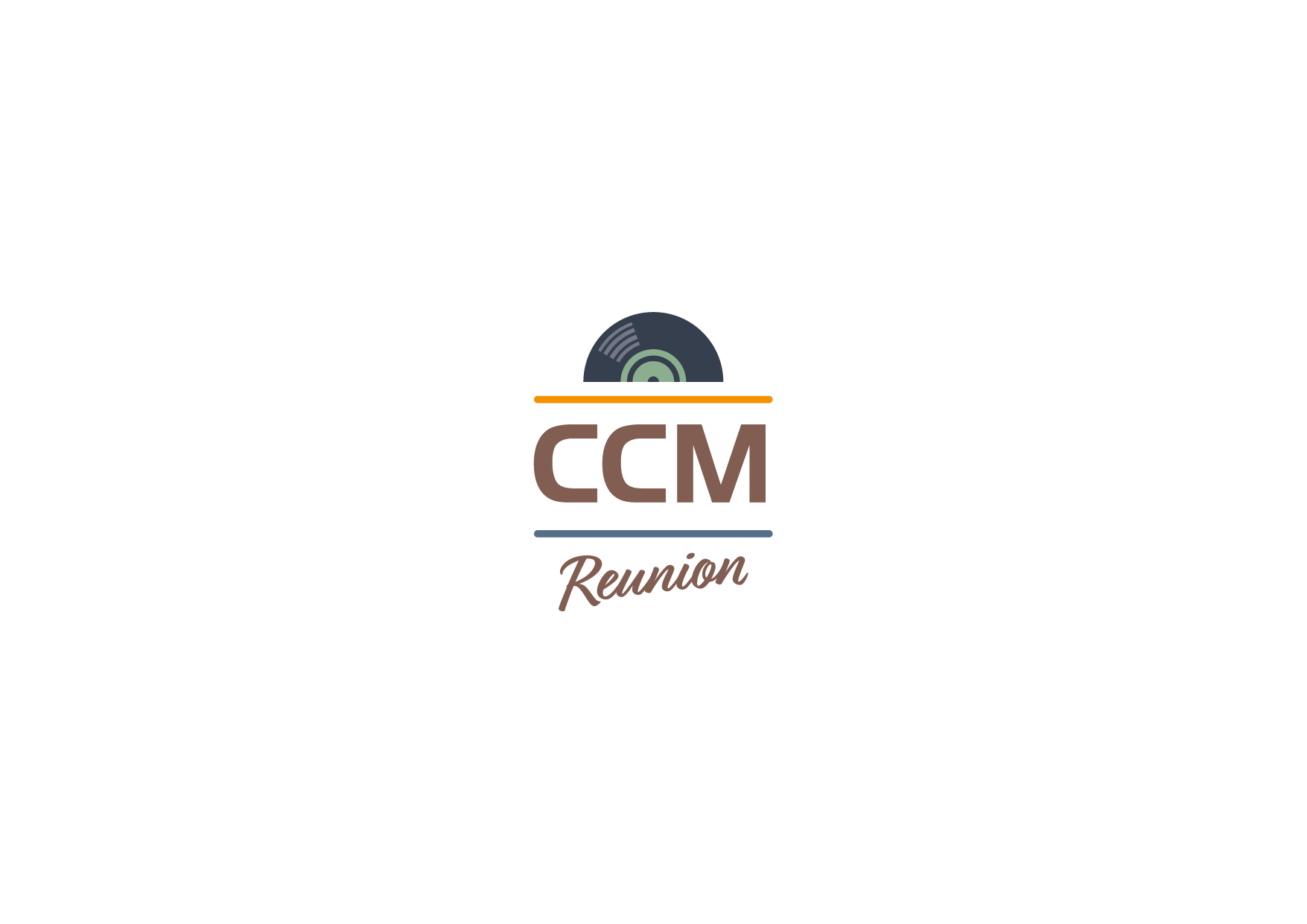 Create a retro-modern, music-inspired logo for CCM Reunion