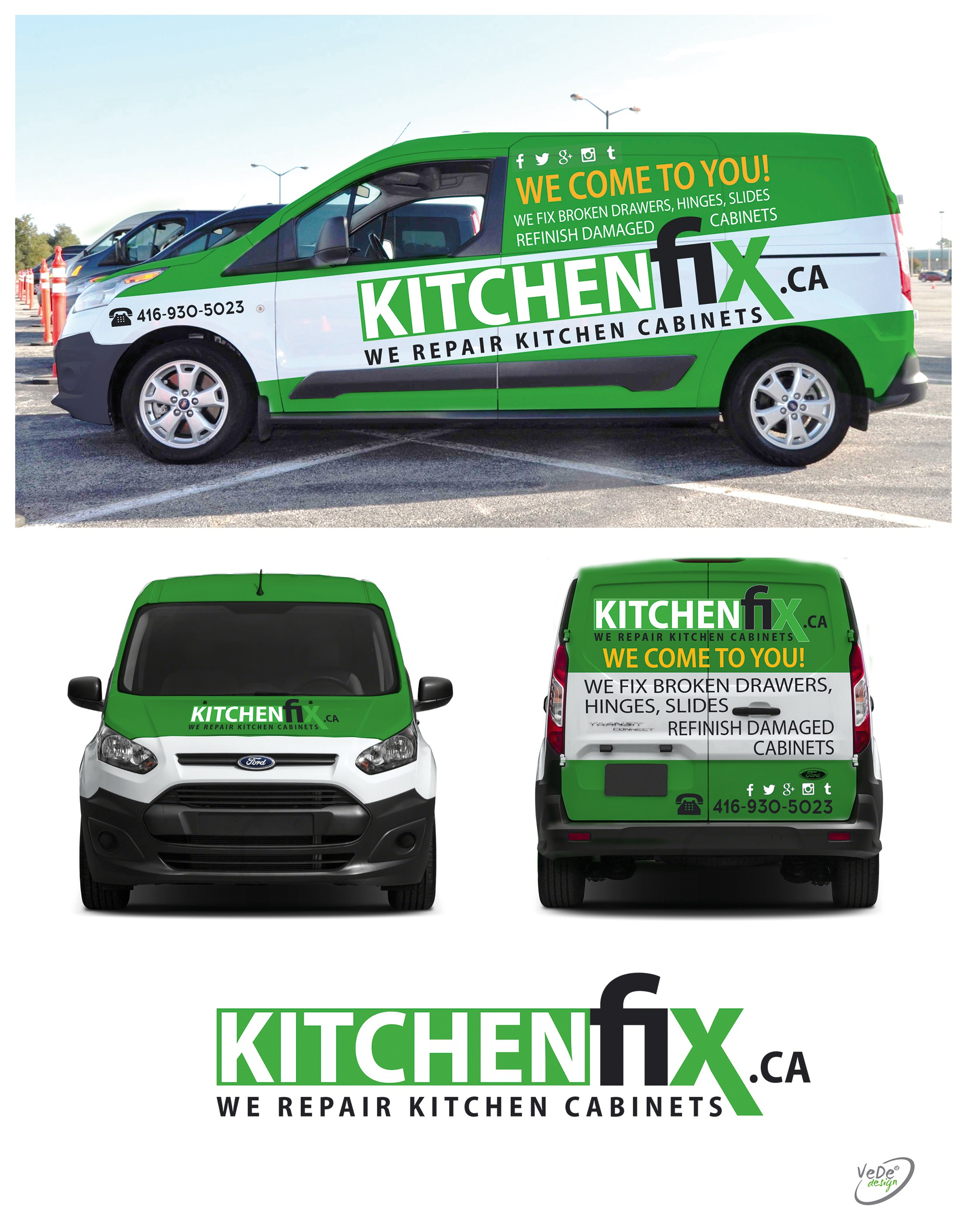 Design an eye catching service vehicle for kitchenfix