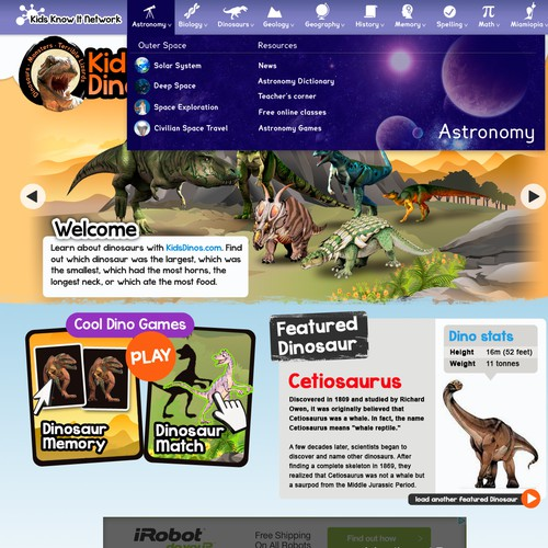 Kids Dinos Website Re-design