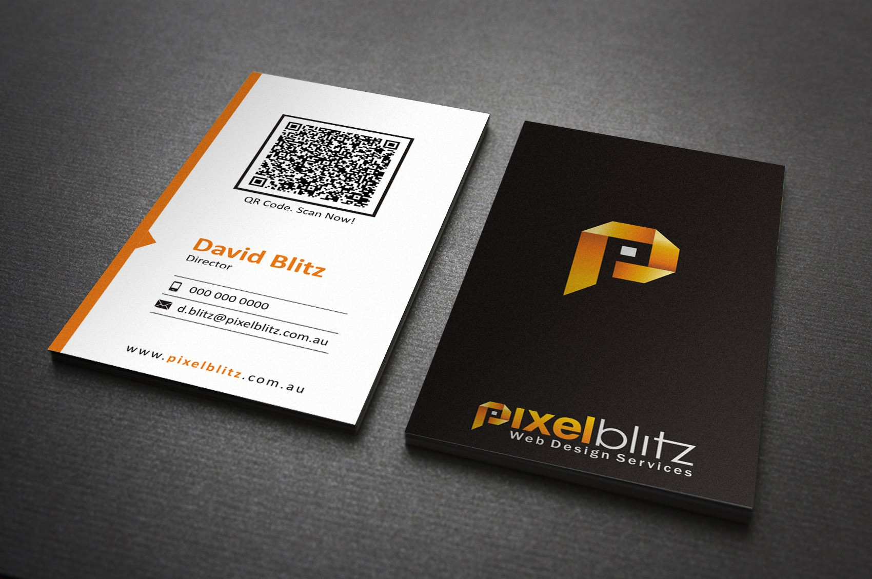 Pixel Blitz need a stunning, stand-out logo + business card.