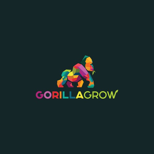 Geometric Low poly gorilla design