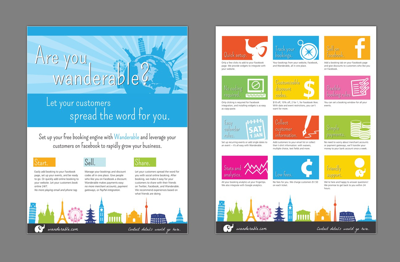 Flyer/brochure for Wanderable (online booking engine for travel/tour companies)