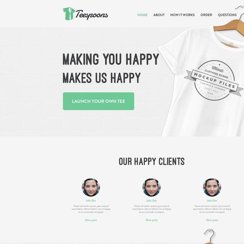 Simple Home page for Teespoons