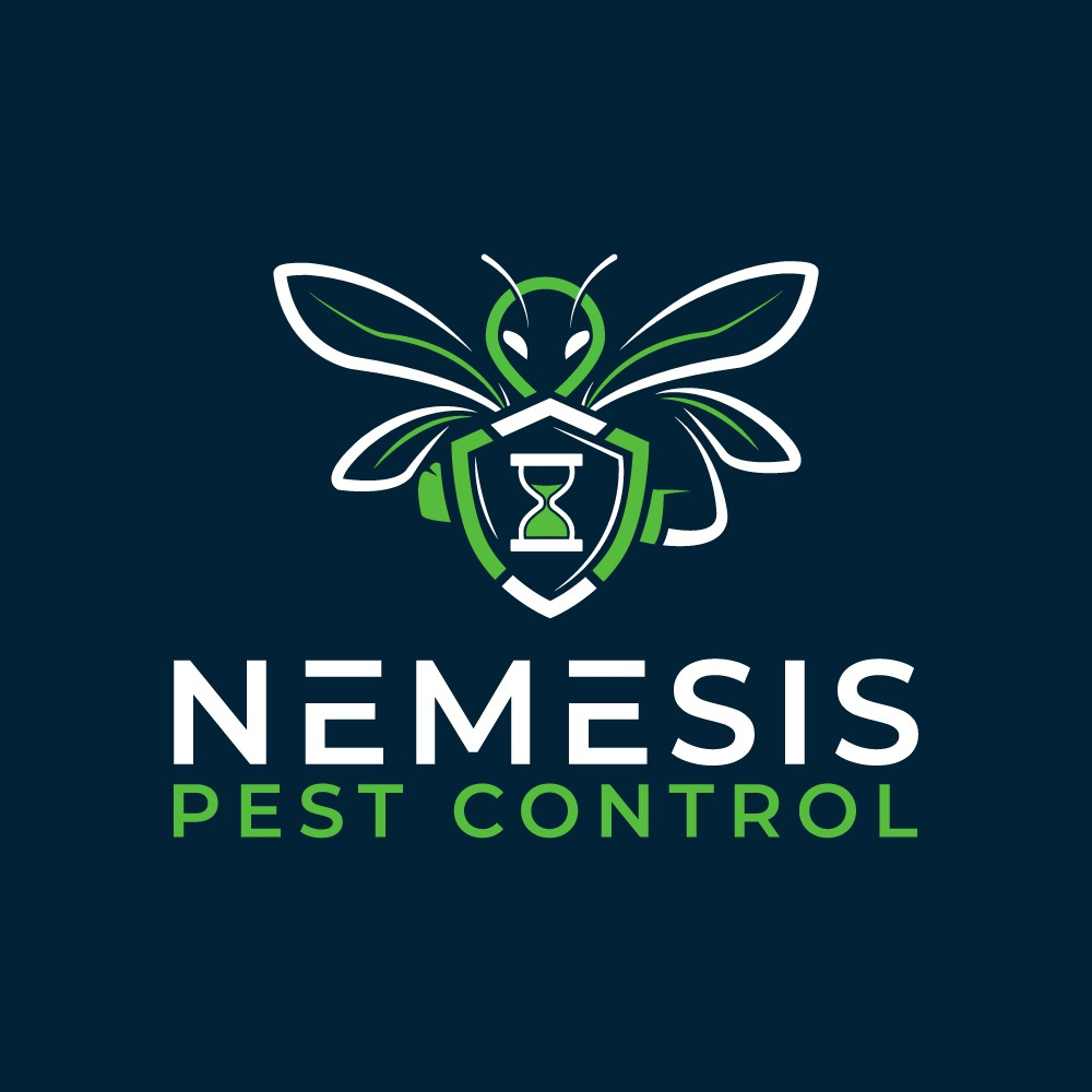 Design a playful, combative, colorful logo for a new pest control company in Oregon
