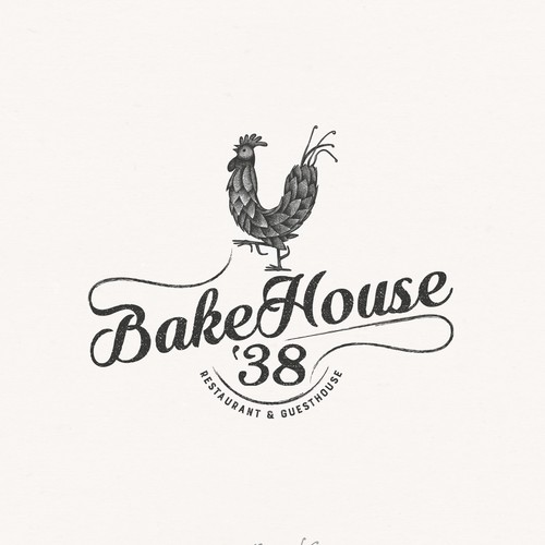 Rustic logo for wood-fired bakehouse, restaurant and guesthouse