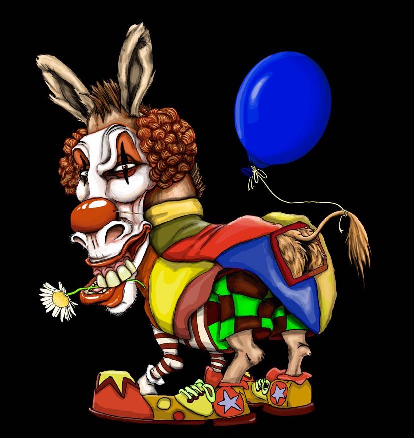 Ass Clown - i.e. a donkey dressed up as a clown