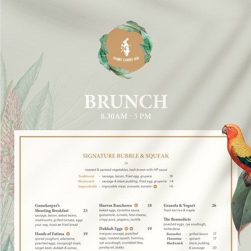 Tropical Menu Design for High End Eatery