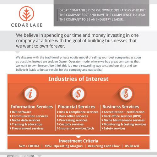 Cedar Lake, brochure to design