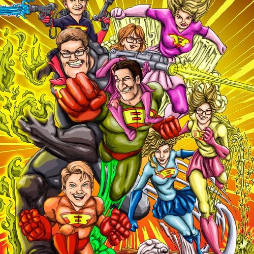 Superhero Family Illustration.