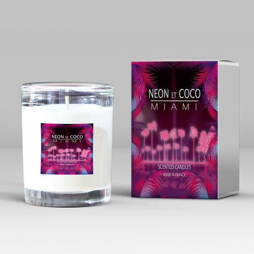 A graphic, modern and colourful label for a new candle brand