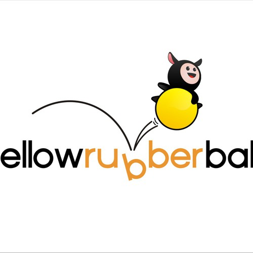 Create a fun, energetic, un-corporate logo for Yellow Rubber Ball