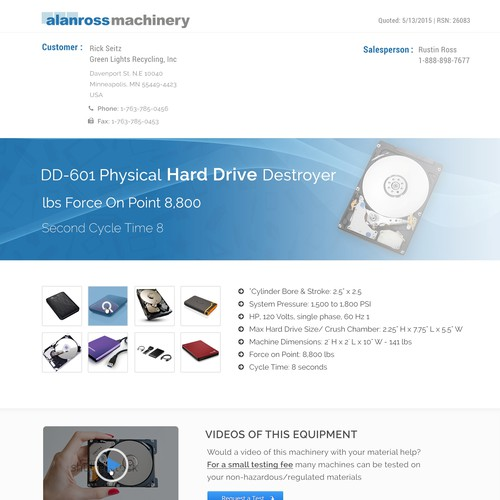 Alanross Machinery Landing Page Design
