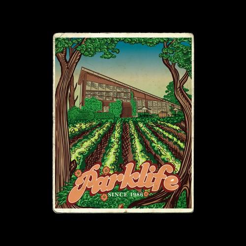 Vintage vineyard poster illustration