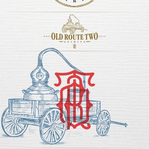 classic & vintage, yet modern logo for Old Route Two Spirits