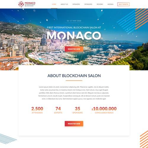 Website Design for 1st International Blockchain Exposition in Monaco