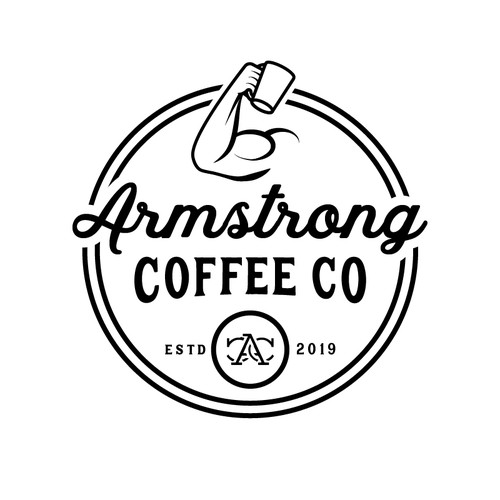 Vintage, classic logo for Armstrong Coffee Co.