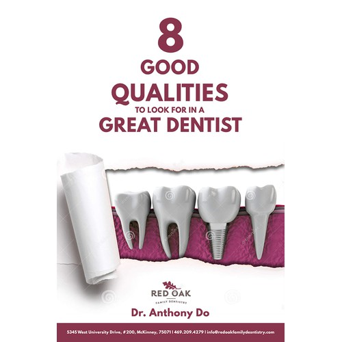 Create an eBook cover for a guide to a great dentist!