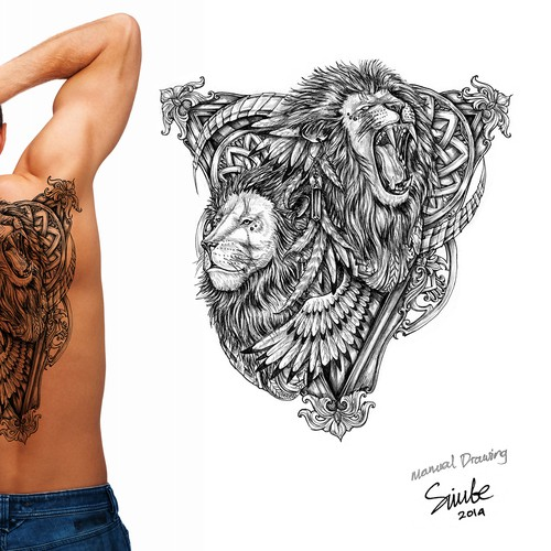Tattoo: Two Lions one Man