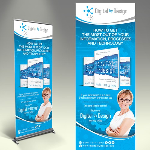 Design an eye catching pull up banner for a book launch