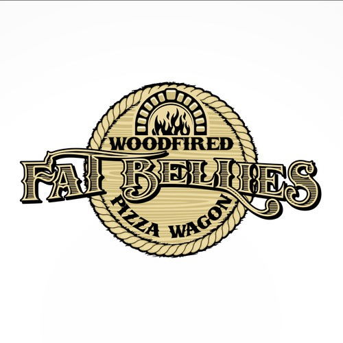 Fat Bellies Pizza Wagon - western style logo