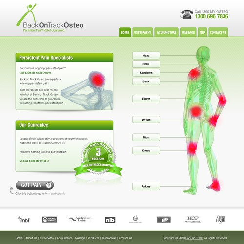 Help Back on Track Osteo with a new website design