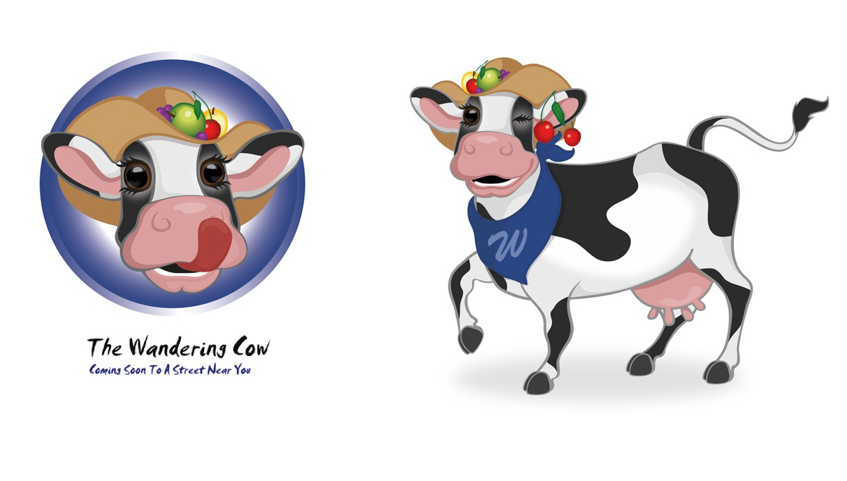 Design cow mascot for The Wandering Cow -- a frozen yogurt business