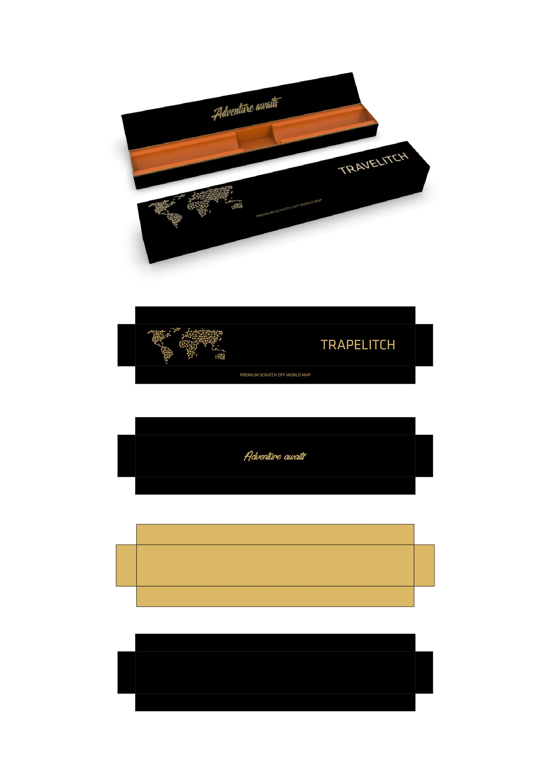 Luxury Scratch-Off World Map needs premium packaging box that elevates us above the competition!