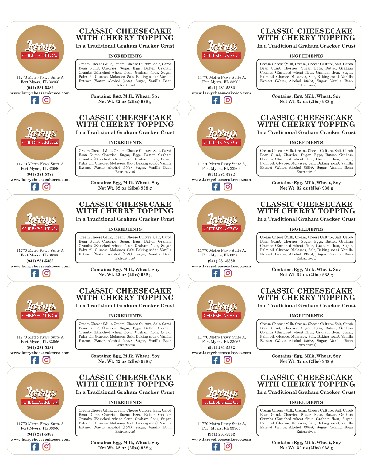 Larry's Cheesecake Co. Food labels