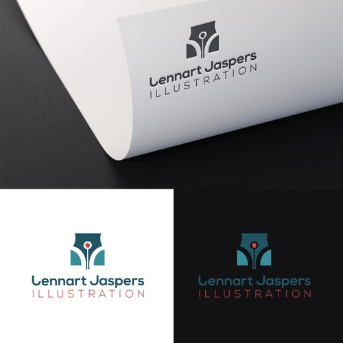 Communicative logo for a designer turning illustrator