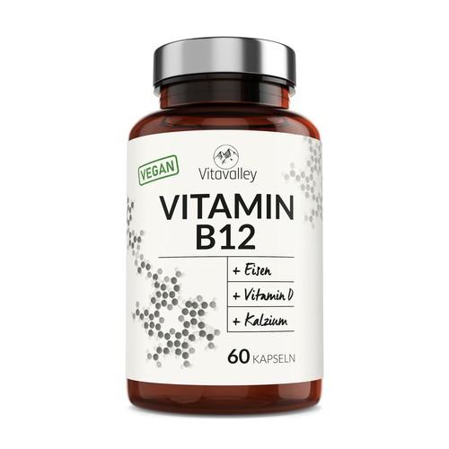 Label for vegan Vitamin B12 Capsules