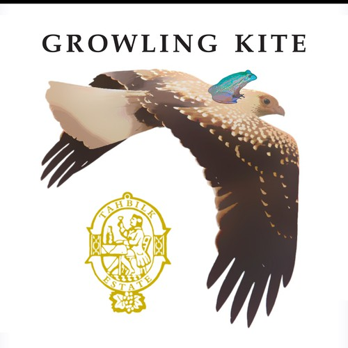 Create a quirky, interesting wine label for Growling Kite