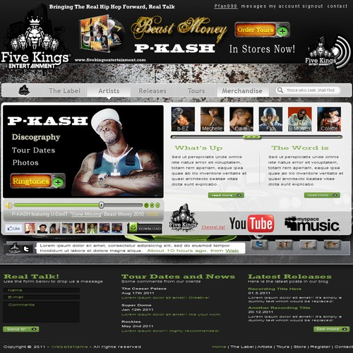 Web Page Design for FIVE KINGS ENTERTAINMENT