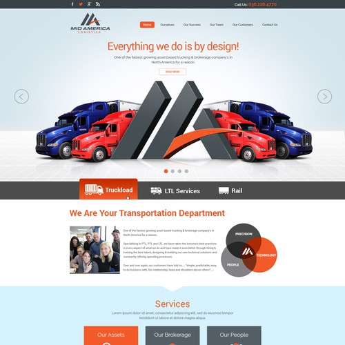 create a stunning/impactful site for one of the fastest growing transportation logistics companies.