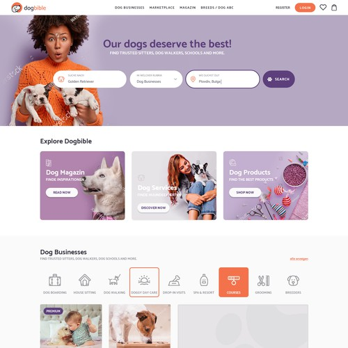 Webdesign for online dog platform / marketplace / magazine