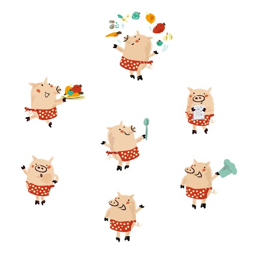 A pig character for recipe cards