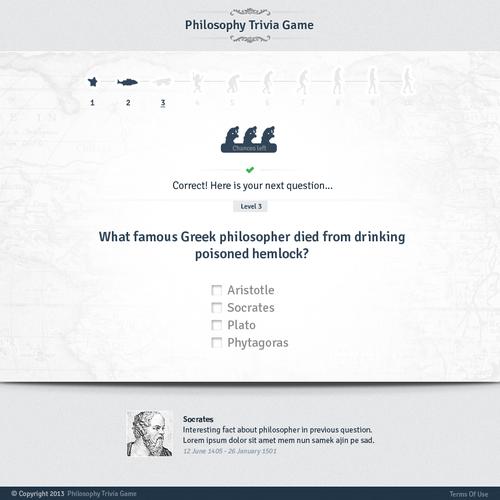 Website Design: Philosophy Trivia Game