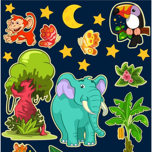 Children stickers illustrations