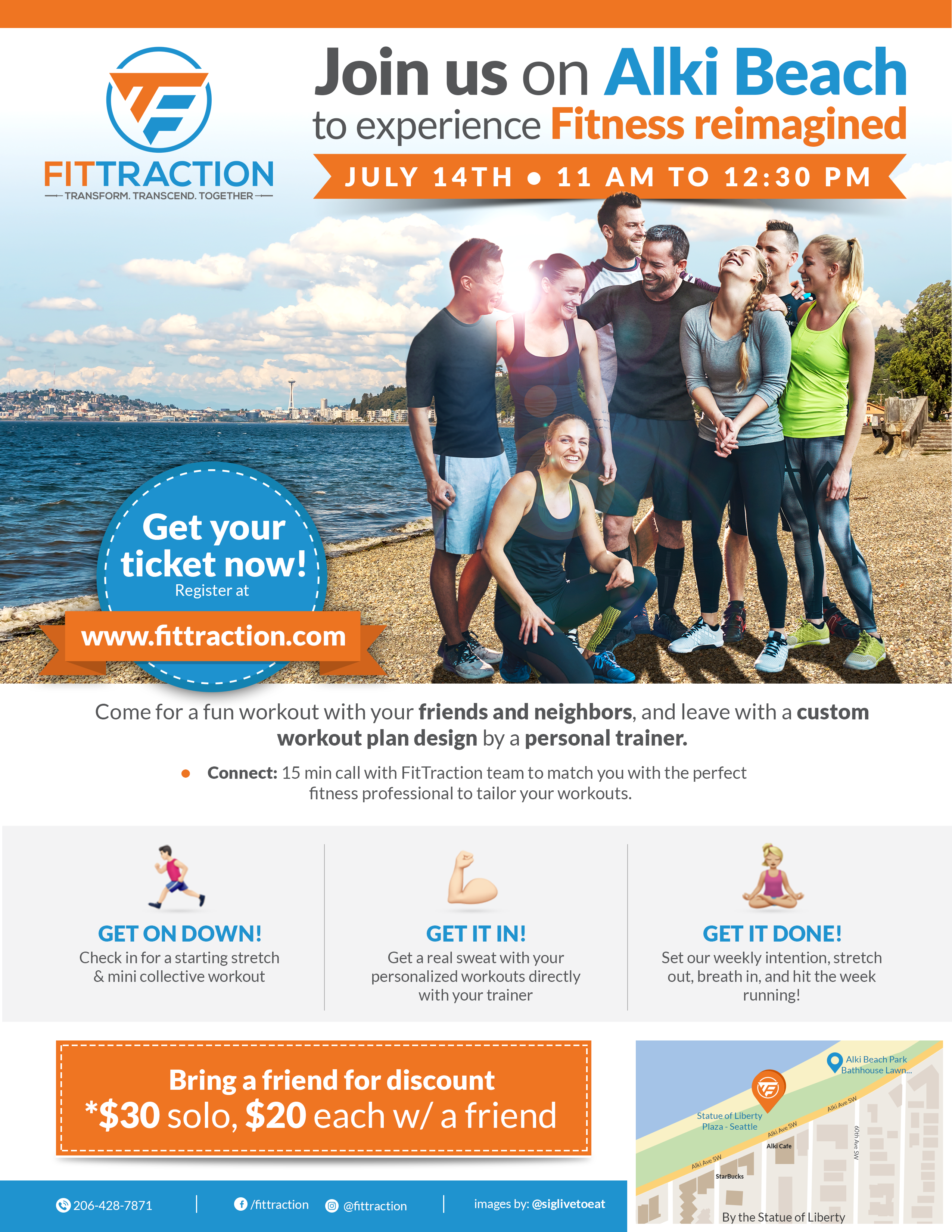 FitTraction Beach Fitness Event Flyer Contest
