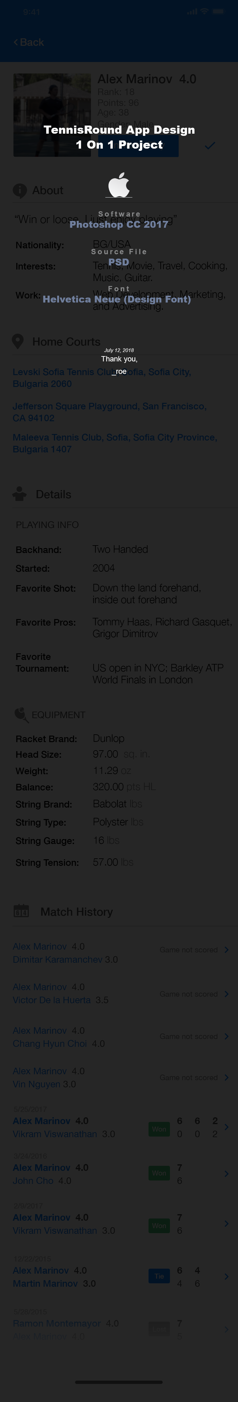 Tennis Round Registration & Player Profile