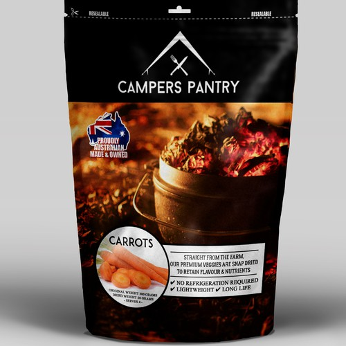 Mock up package design for Campers Pantry